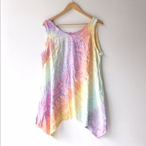 A Line Sleeveless Tie Dyed Tank Top